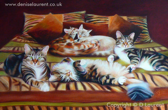 The Larson Five Group Cat Painting