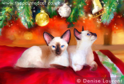 Christmas Baubles Siamese Cards