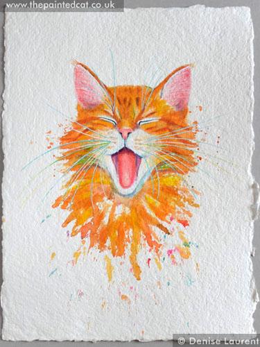 Ginger Cat On Handmade Paper