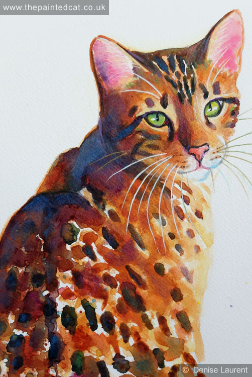 Glitter Girl Bengal Cat In Watercolour1