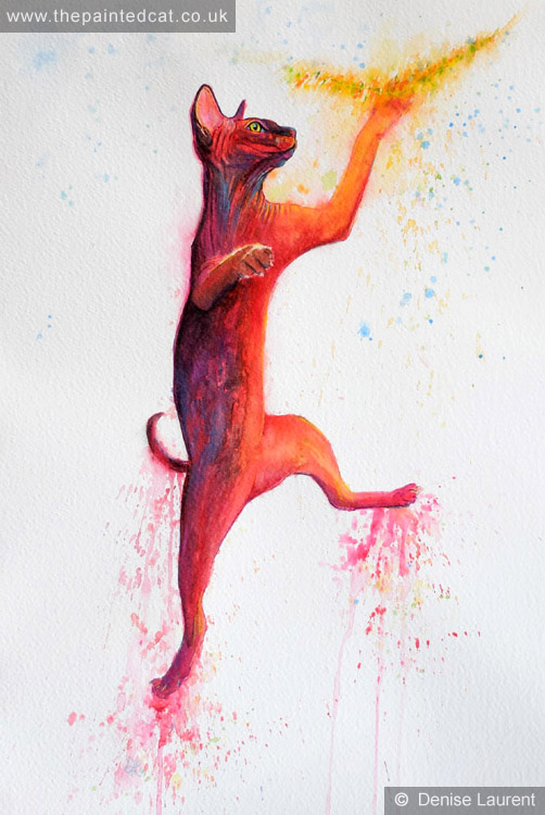 Leaping Sphynx Cat Painting- Sold
