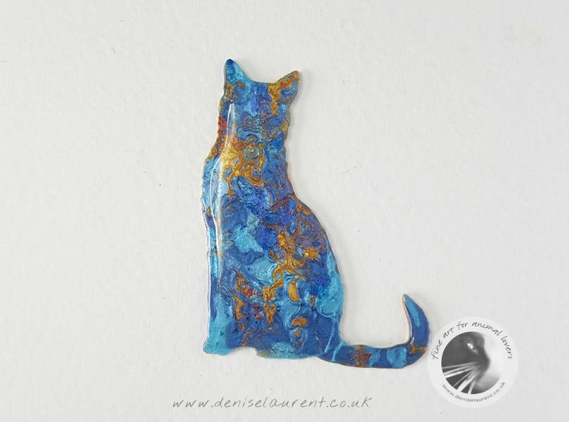Sitting Blue Cat Brooch – Sold