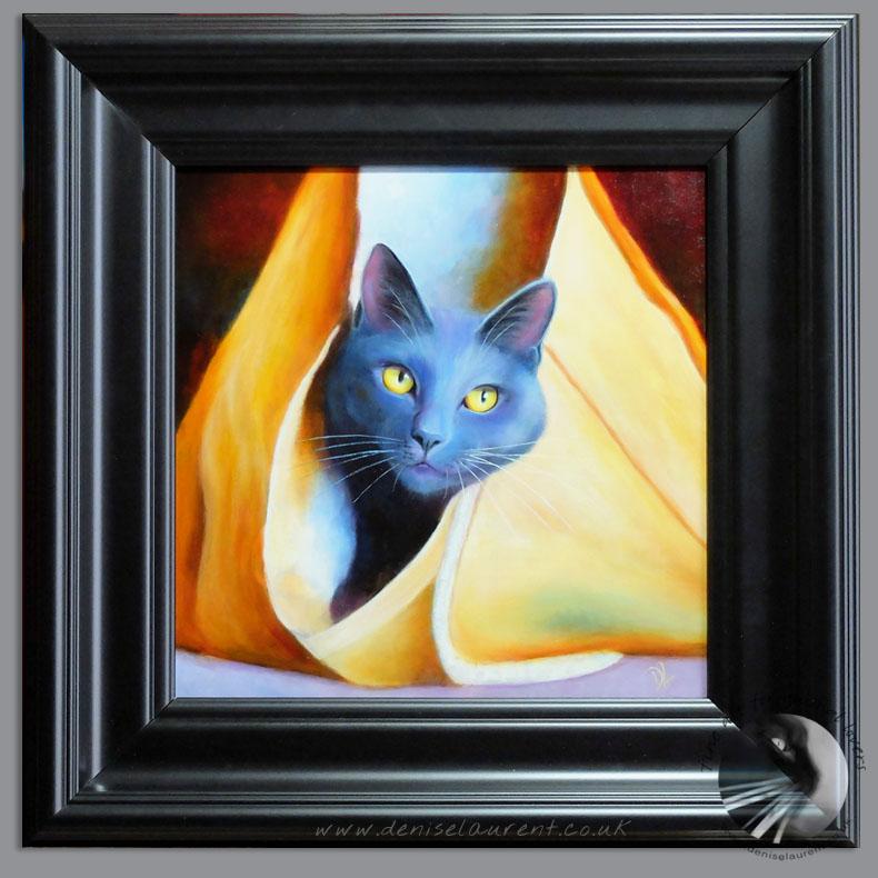 Bag Puss Blue Cat Painting Framed