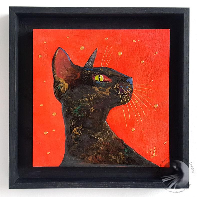 Black Cat On Red In Resin