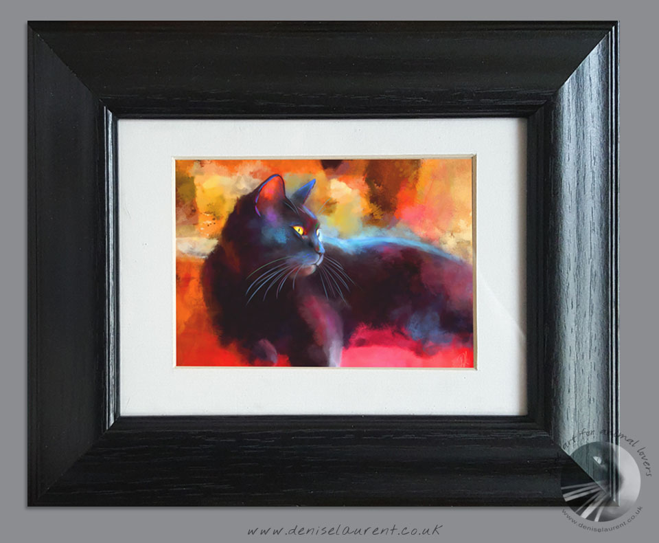 Small Framed Black Cat Print
