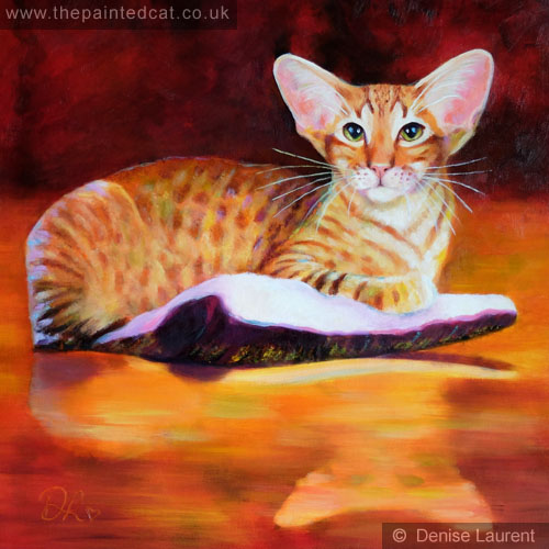 Red Oriental Cat Oil Painting