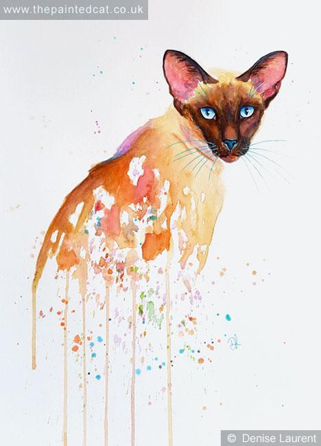 Blue Topaz – Siamese Cat In Watercolour- Sold