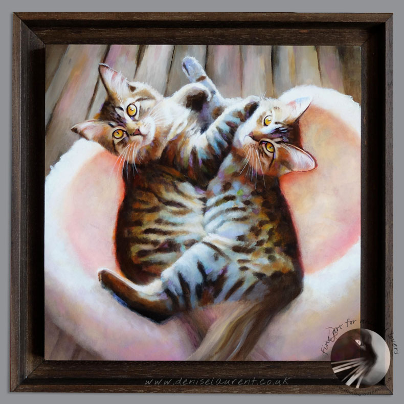 Sisters – Maine Coon Cats Oil Painting Framed