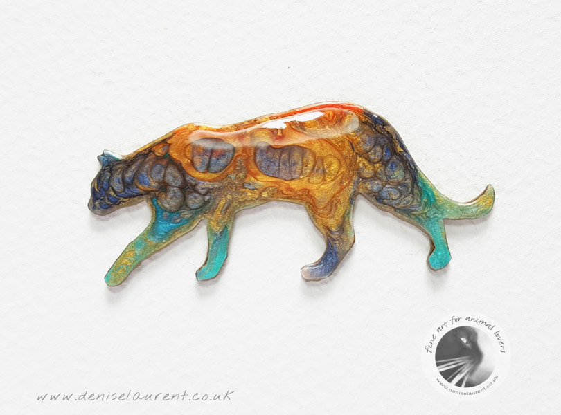 Walking Cat Brooch – Blue And Orange – Sold